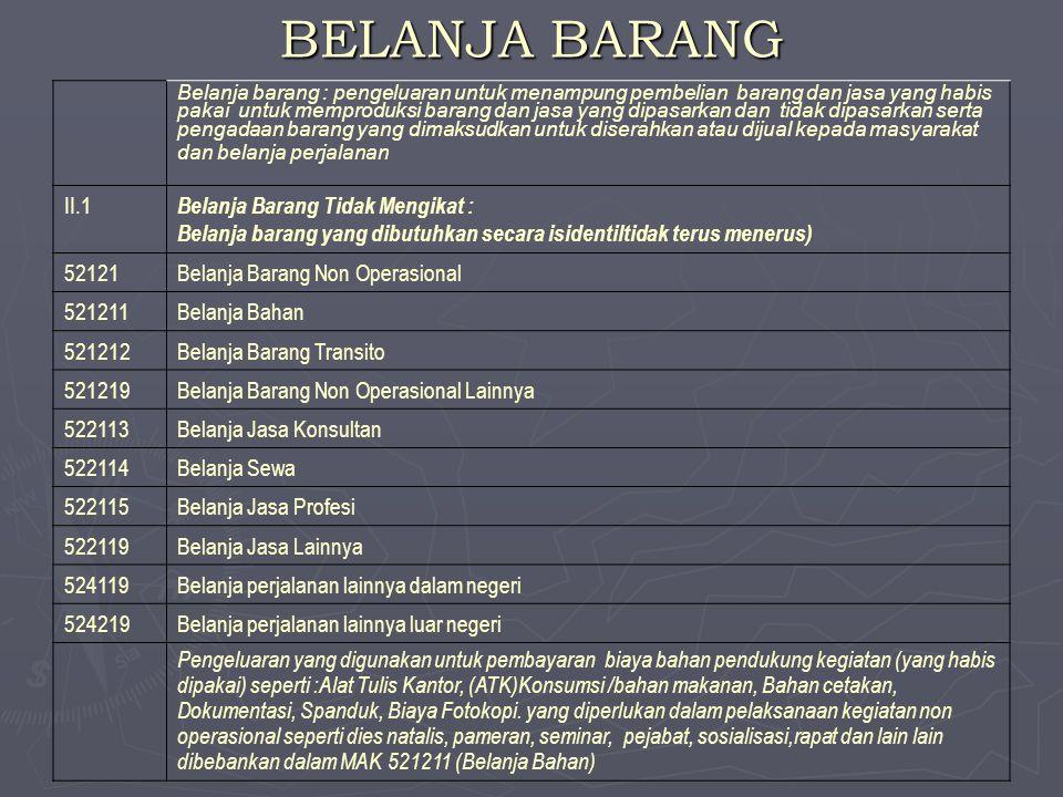 BELANJA BARANG II.1 Belanja Barang Tidak Mengikat :