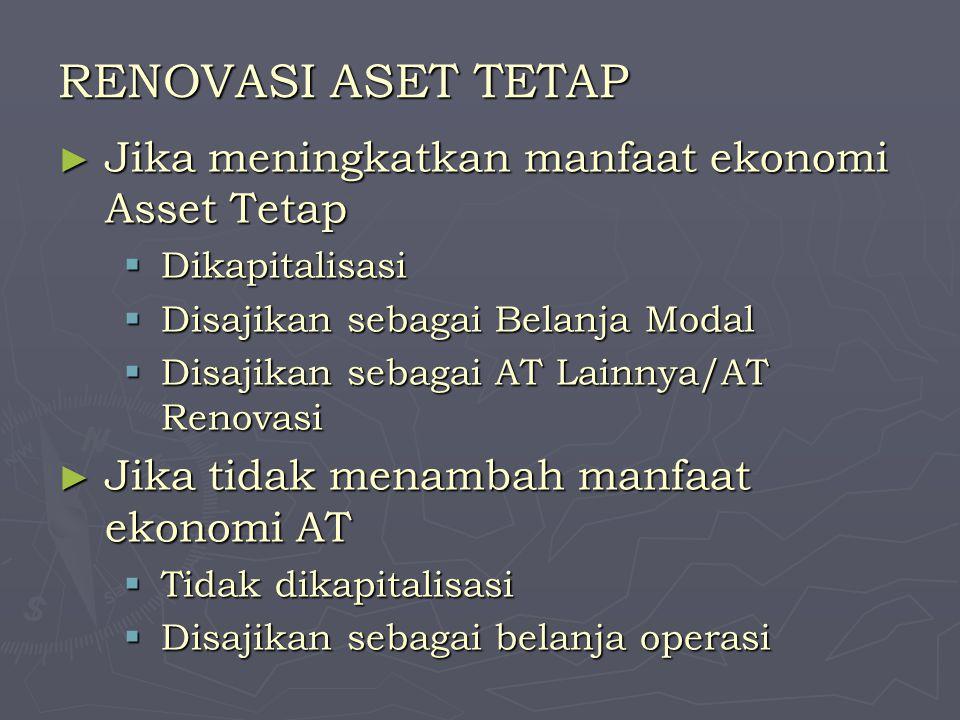 RENOVASI ASET TETAP Jika meningkatkan manfaat ekonomi Asset Tetap