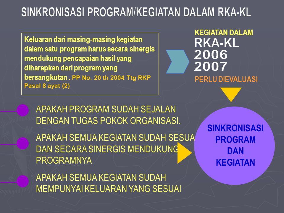 SINKRONISASI PROGRAM/KEGIATAN DALAM RKA-KL RKA-KL 2006 2007