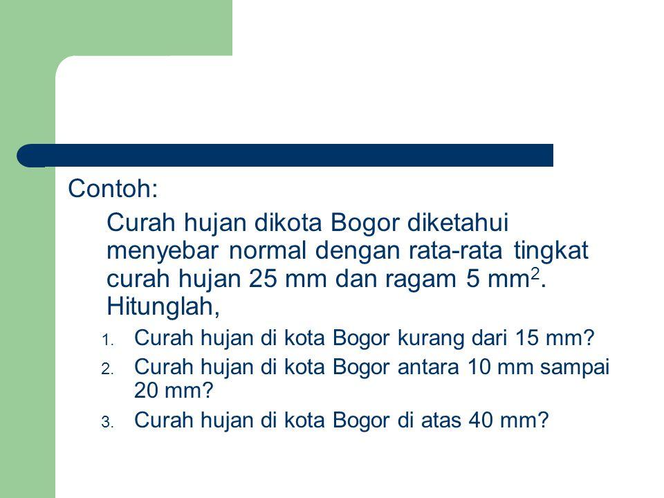 Contoh: Curah hujan dikota Bogor diketahui menyebar normal dengan rata-rata tingkat curah hujan 25 mm dan ragam 5 mm2. Hitunglah,