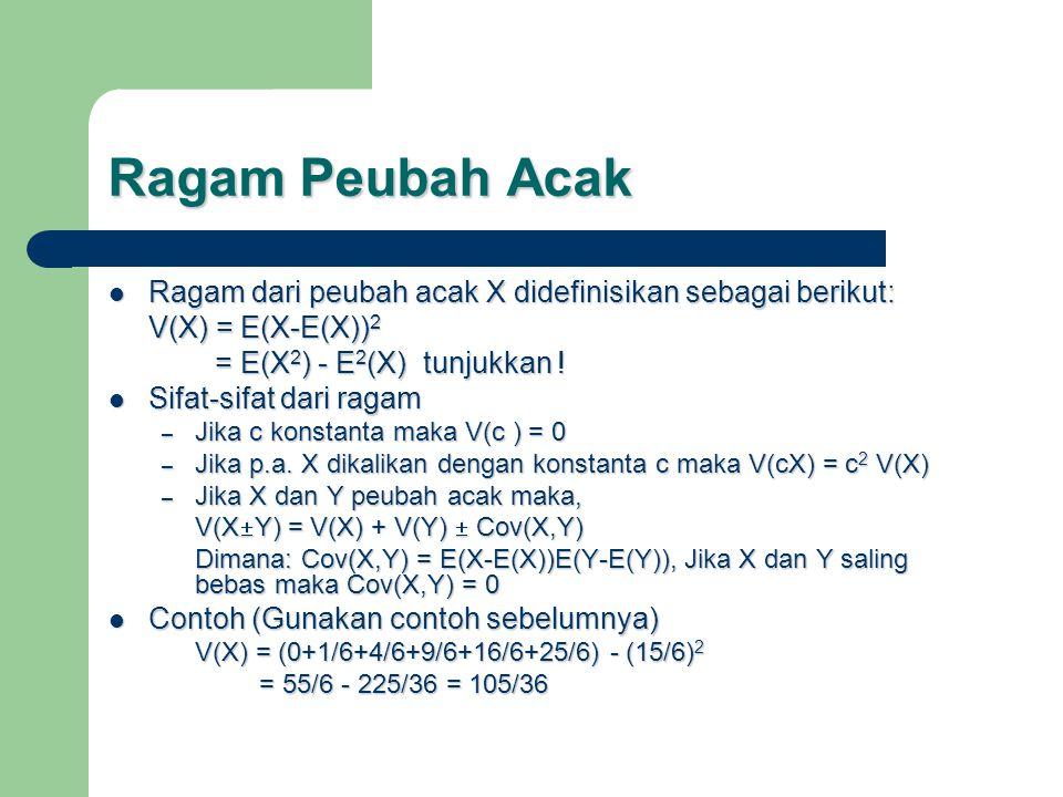 Ragam Peubah Acak Ragam dari peubah acak X didefinisikan sebagai berikut: V(X) = E(X-E(X))2. = E(X2) - E2(X) tunjukkan !
