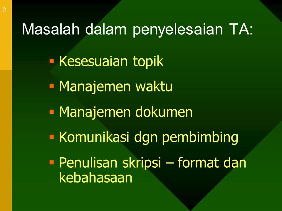 Masalah dalam penyelesaian TA: