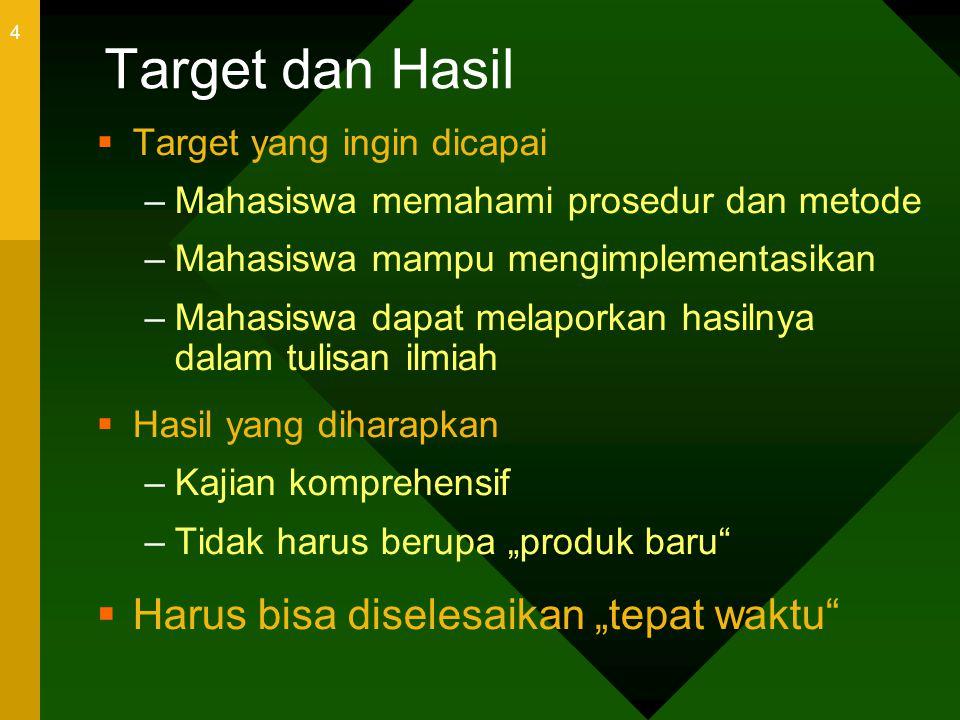 """Target dan Hasil Harus bisa diselesaikan """"tepat waktu"""