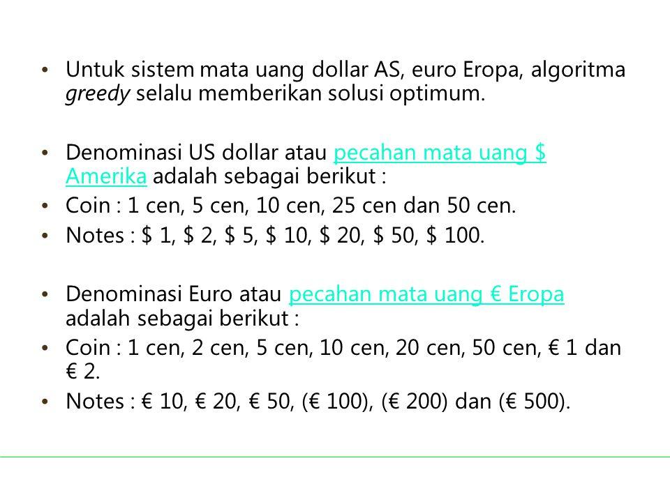Coin : 1 cen, 5 cen, 10 cen, 25 cen dan 50 cen.