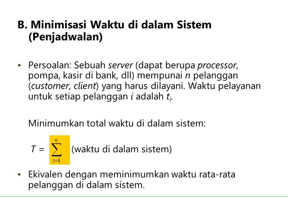 B. Minimisasi Waktu di dalam Sistem (Penjadwalan)