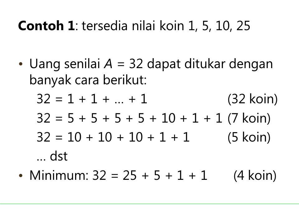 Contoh 1: tersedia nilai koin 1, 5, 10, 25