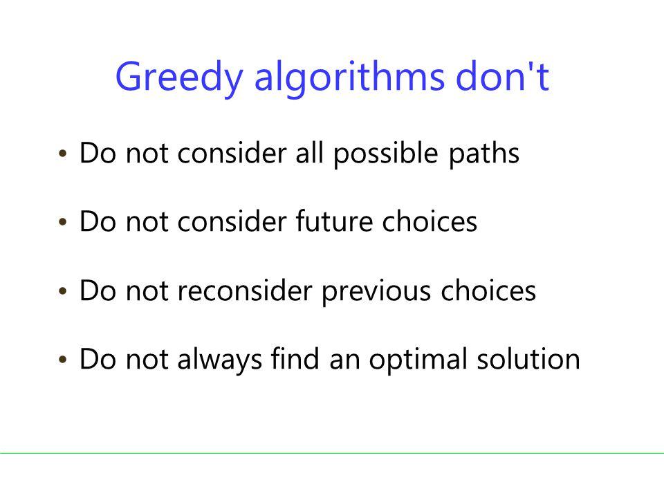 Greedy algorithms don t