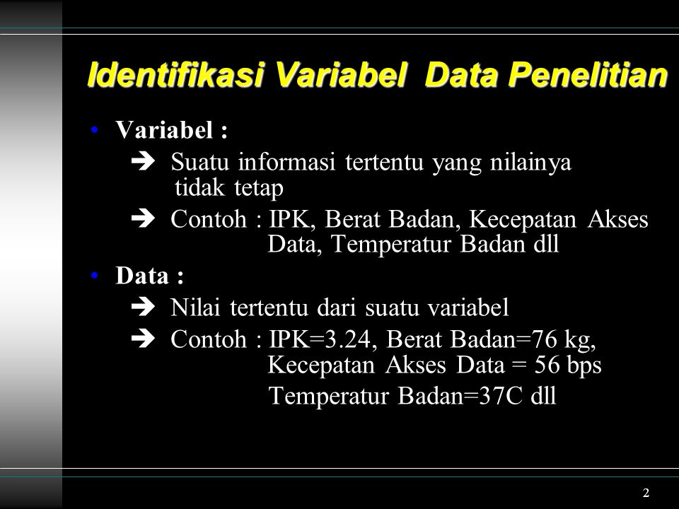 Identifikasi Variabel Data Penelitian