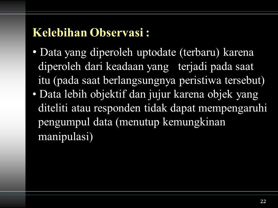 Kelebihan Observasi :