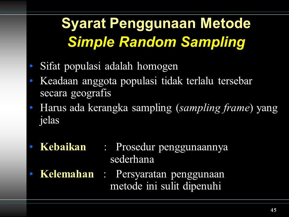 Syarat Penggunaan Metode Simple Random Sampling