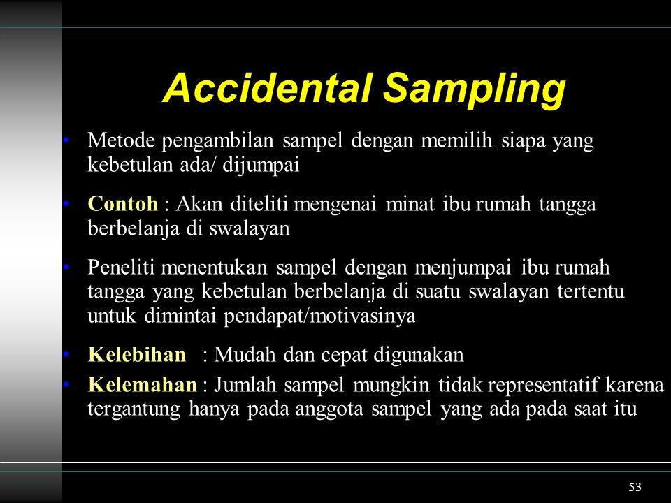 Accidental Sampling Metode pengambilan sampel dengan memilih siapa yang kebetulan ada/ dijumpai.