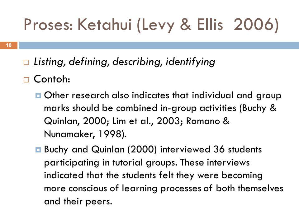 Proses: Ketahui (Levy & Ellis 2006)