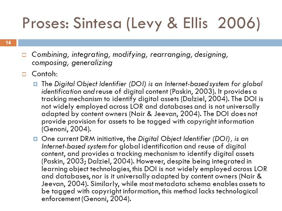Proses: Sintesa (Levy & Ellis 2006)