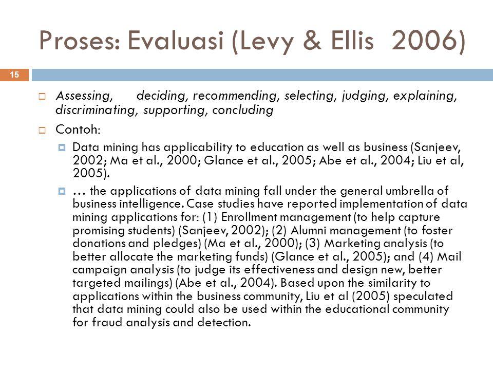 Proses: Evaluasi (Levy & Ellis 2006)