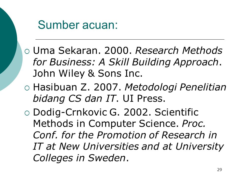Sumber acuan: Uma Sekaran. 2000. Research Methods for Business: A Skill Building Approach. John Wiley & Sons Inc.