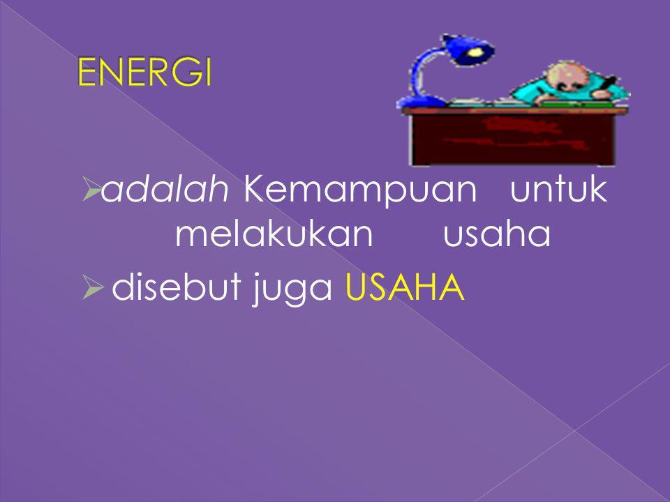 ENERGI adalah Kemampuan untuk melakukan usaha disebut juga USAHA