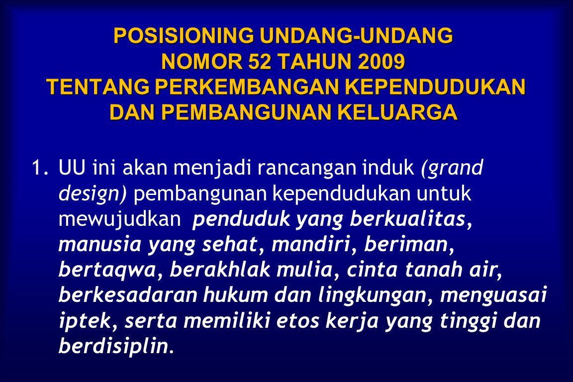 POSISIONING UNDANG-UNDANG NOMOR 52 TAHUN 2009 TENTANG PERKEMBANGAN KEPENDUDUKAN DAN PEMBANGUNAN KELUARGA