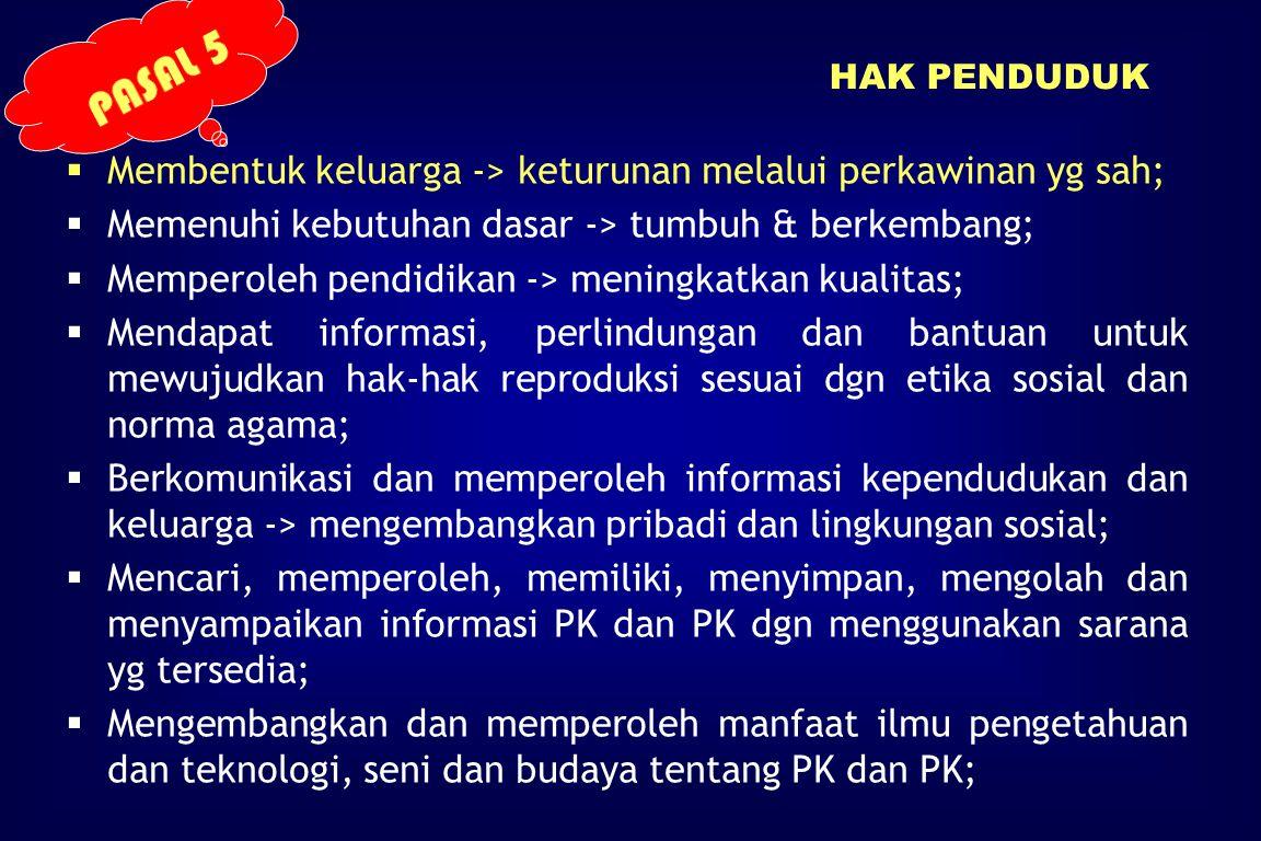 PASAL 5 Membentuk keluarga -> keturunan melalui perkawinan yg sah;
