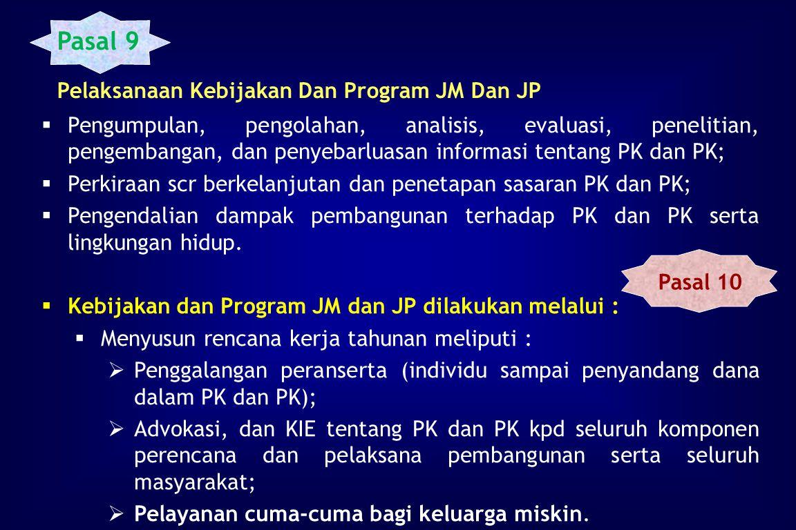 Pasal 9 Pelaksanaan Kebijakan Dan Program JM Dan JP