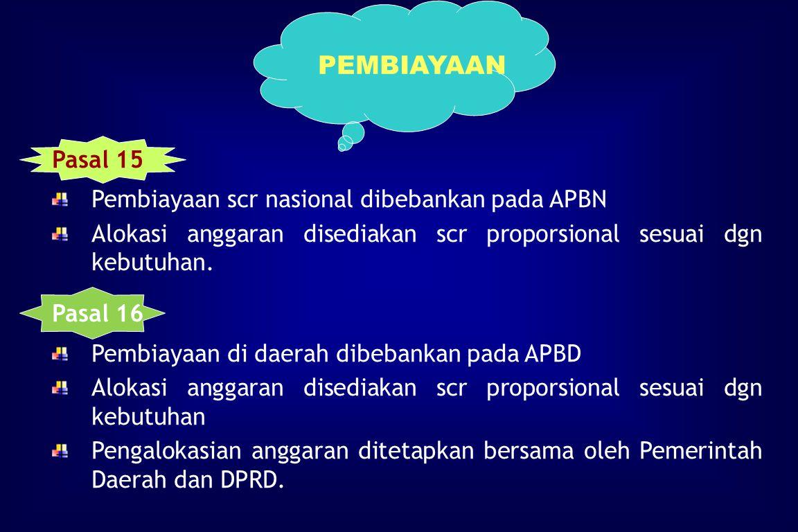 PEMBIAYAAN Pasal 15 Pembiayaan scr nasional dibebankan pada APBN