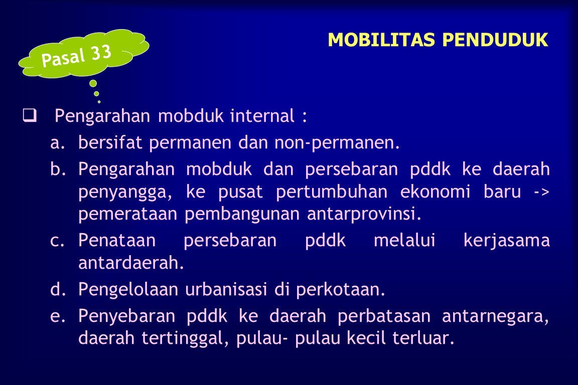 MOBILITAS PENDUDUK Pasal 33. Pengarahan mobduk internal : bersifat permanen dan non-permanen.