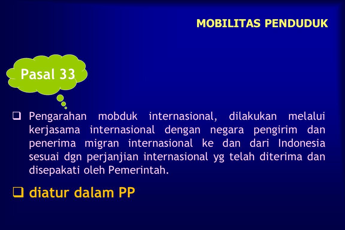 Pasal 33 diatur dalam PP MOBILITAS PENDUDUK
