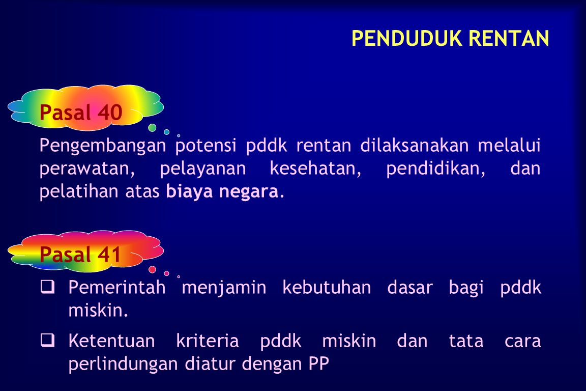 PENDUDUK RENTAN Pasal 40 Pasal 41