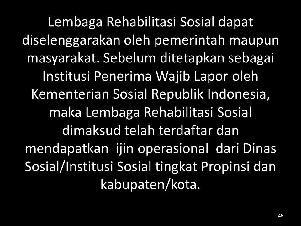 Lembaga Rehabilitasi Sosial dapat diselenggarakan oleh pemerintah maupun masyarakat.