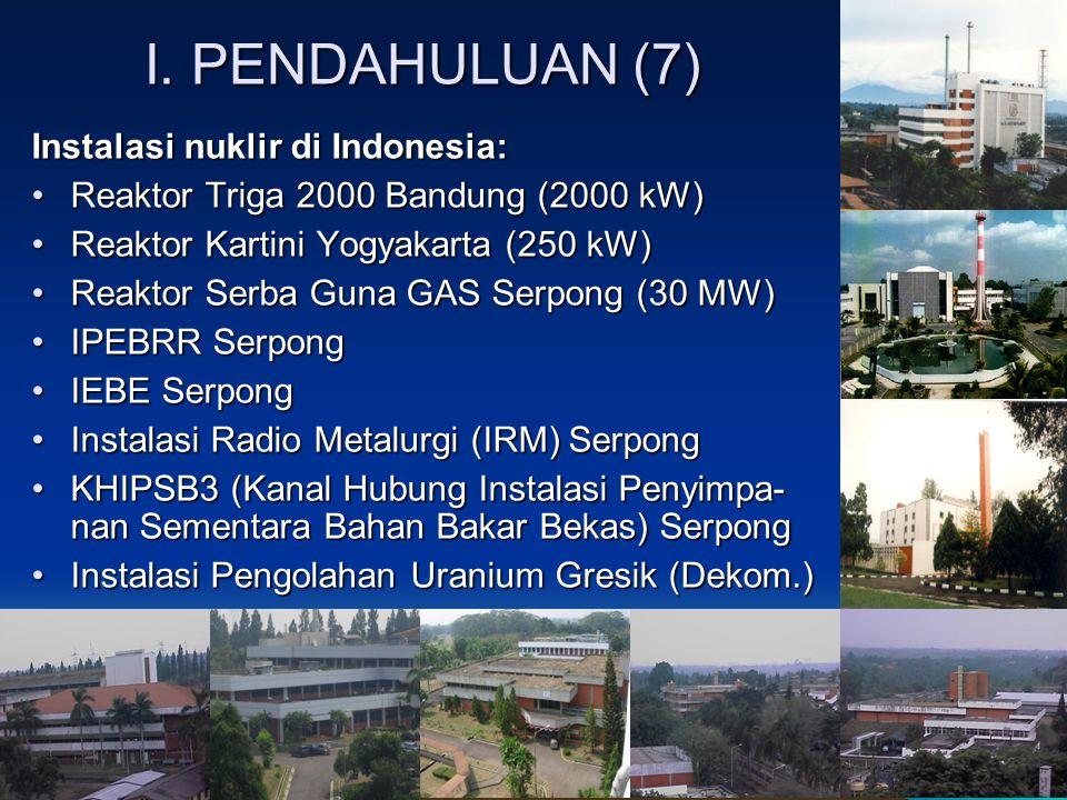 I. PENDAHULUAN (7) Instalasi nuklir di Indonesia: