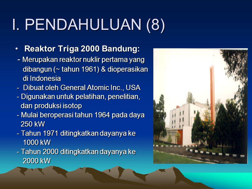 I. PENDAHULUAN (8) Reaktor Triga 2000 Bandung: