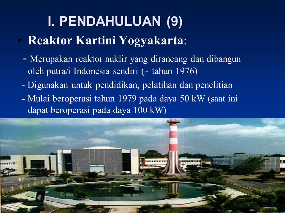 I. PENDAHULUAN (9) Reaktor Kartini Yogyakarta: