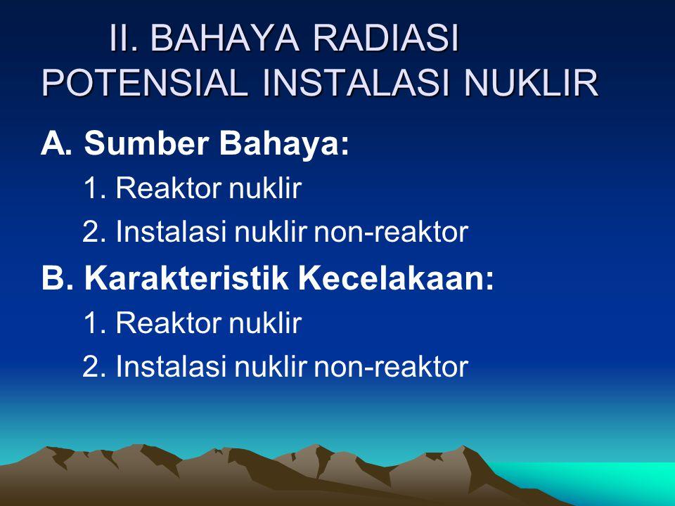II. BAHAYA RADIASI POTENSIAL INSTALASI NUKLIR