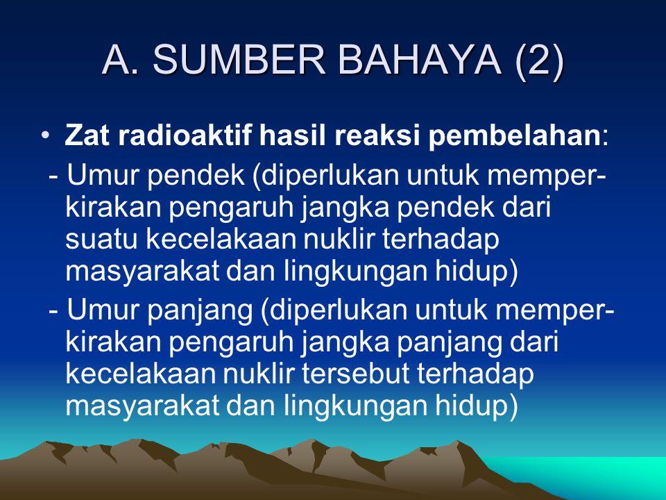 A. SUMBER BAHAYA (2) Zat radioaktif hasil reaksi pembelahan: