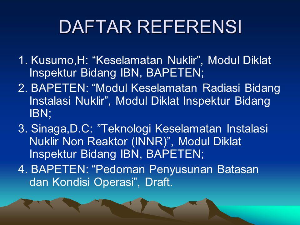 DAFTAR REFERENSI 1. Kusumo,H: Keselamatan Nuklir , Modul Diklat Inspektur Bidang IBN, BAPETEN;