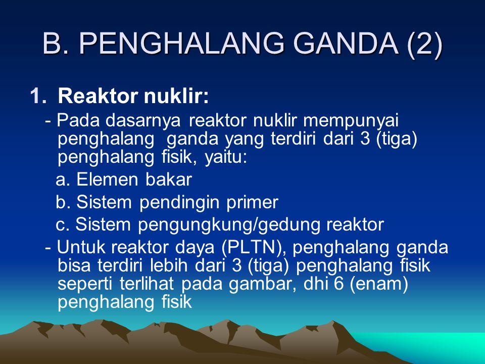 B. PENGHALANG GANDA (2) Reaktor nuklir: