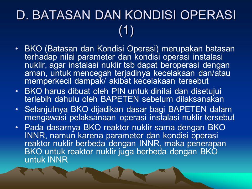 D. BATASAN DAN KONDISI OPERASI (1)