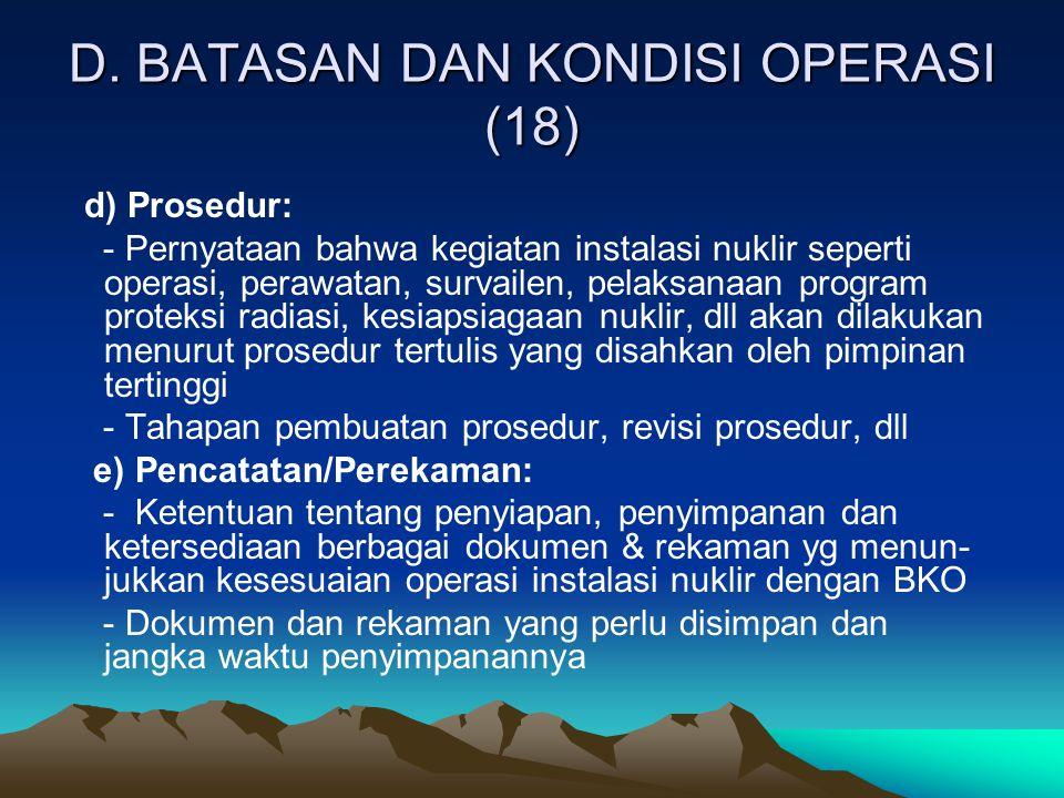 D. BATASAN DAN KONDISI OPERASI (18)