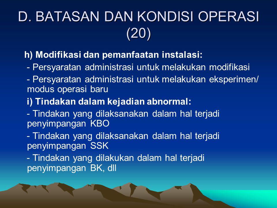 D. BATASAN DAN KONDISI OPERASI (20)