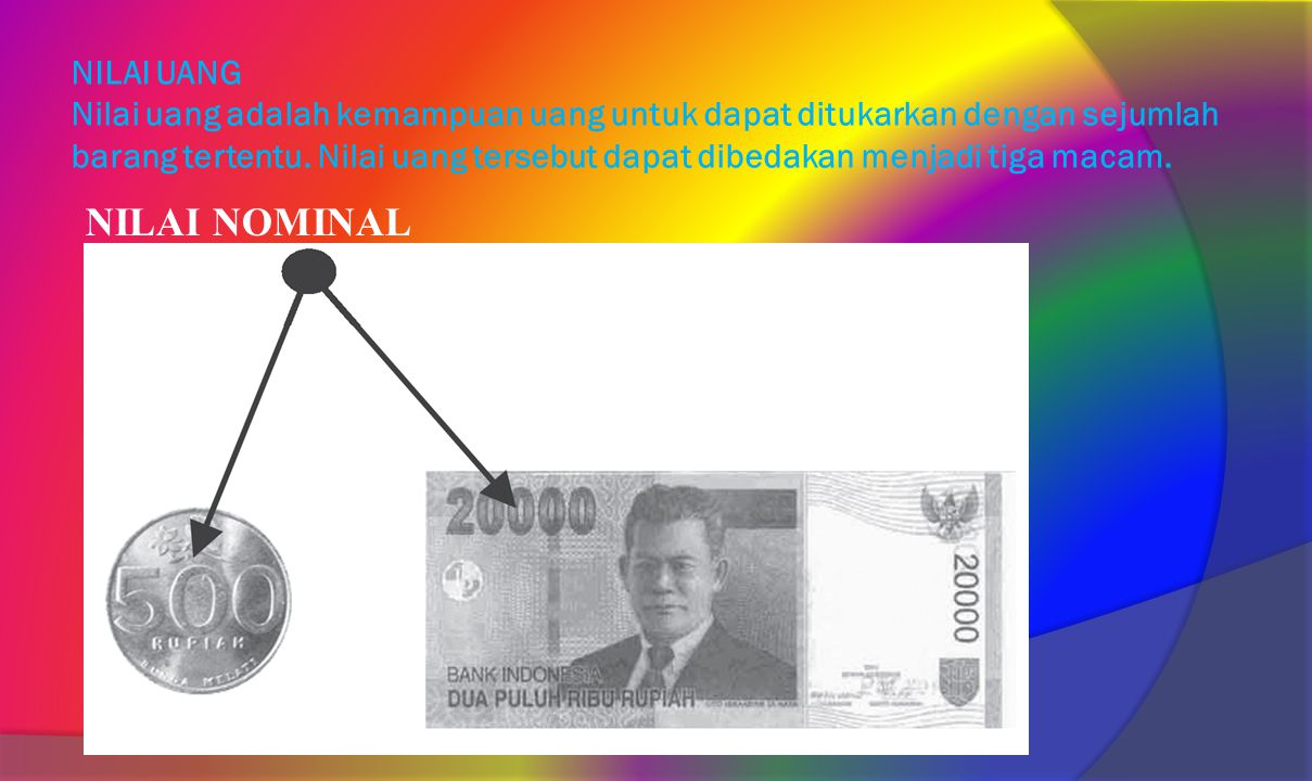 NILAI UANG Nilai uang adalah kemampuan uang untuk dapat ditukarkan dengan sejumlah barang tertentu. Nilai uang tersebut dapat dibedakan menjadi tiga macam.