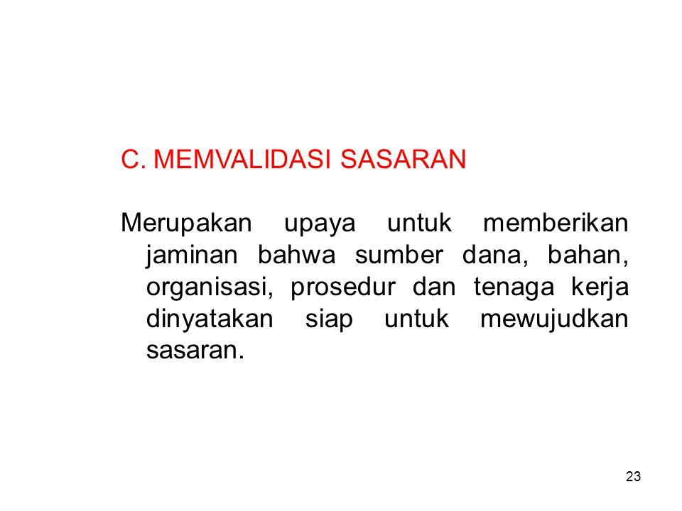 C. MEMVALIDASI SASARAN