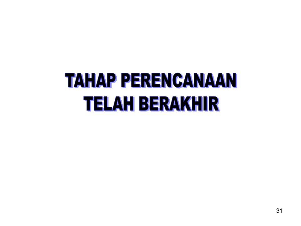 TAHAP PERENCANAAN TELAH BERAKHIR