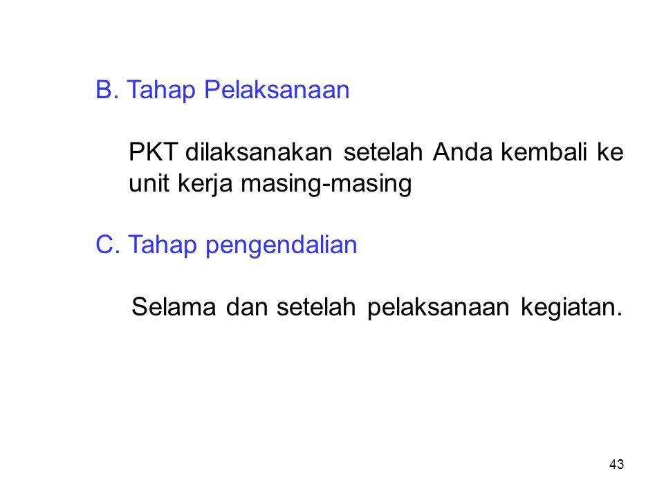 B. Tahap Pelaksanaan PKT dilaksanakan setelah Anda kembali ke unit kerja masing-masing. C. Tahap pengendalian.