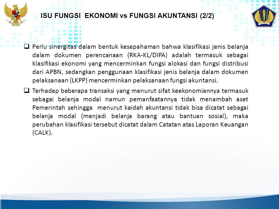 ISU FUNGSI EKONOMI vs FUNGSI AKUNTANSI (2/2)
