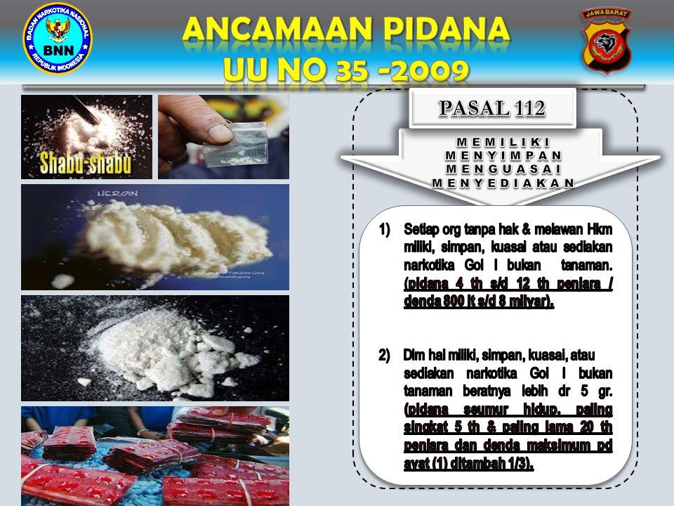 ANCAMAAN PIDANA UU NO 35 -2009 PASAL 112