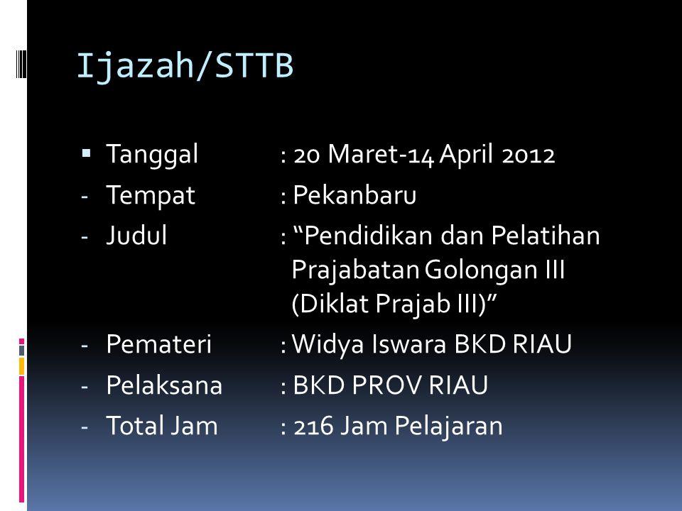 Ijazah/STTB Tanggal : 20 Maret-14 April 2012 Tempat : Pekanbaru