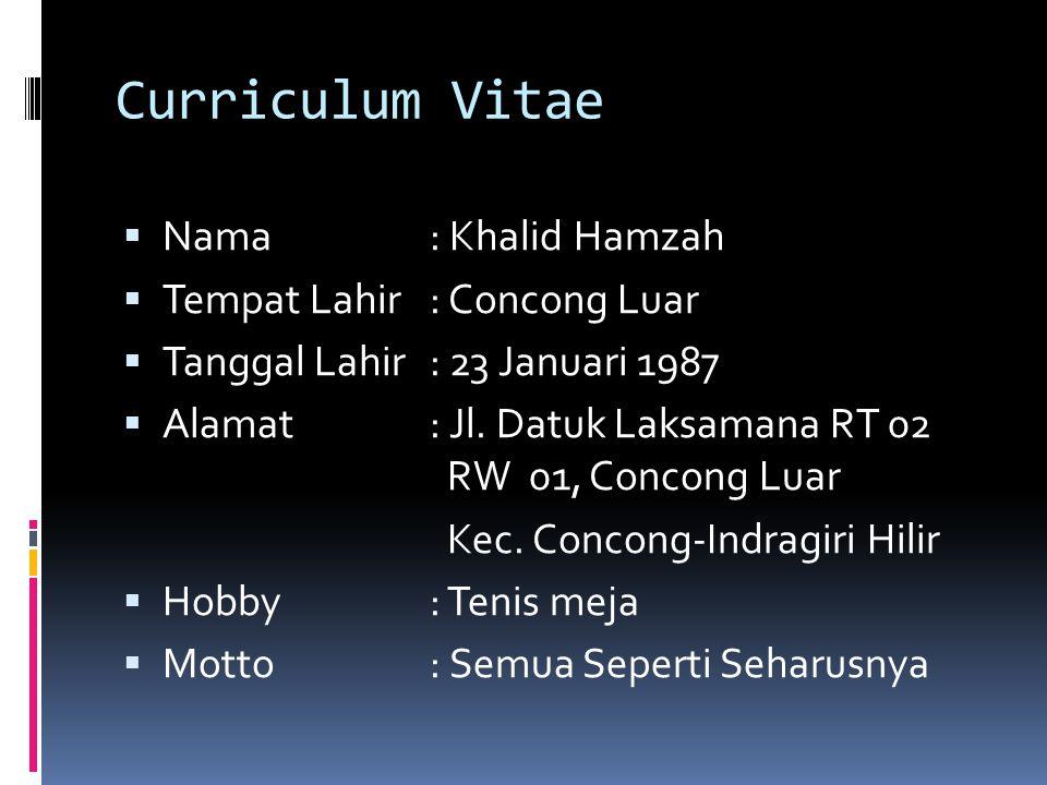 Curriculum Vitae Nama : Khalid Hamzah Tempat Lahir : Concong Luar