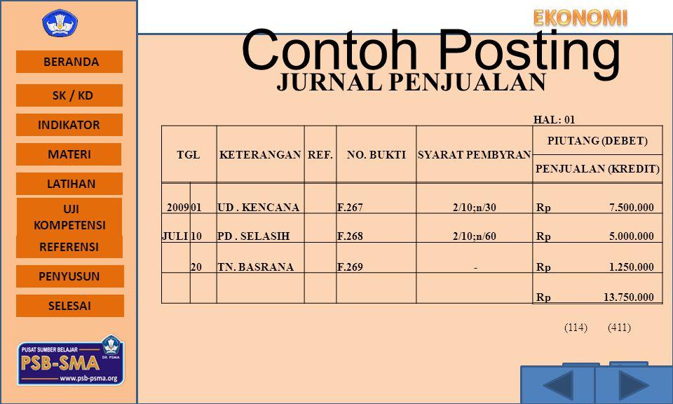 Contoh Posting JURNAL PENJUALAN HAL: 01 TGL KETERANGAN REF. NO. BUKTI