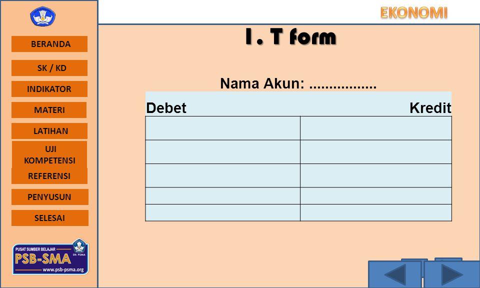 1. T form Nama Akun: ................. Debet Kredit