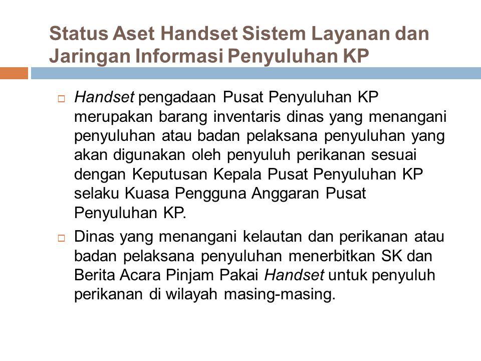Status Aset Handset Sistem Layanan dan Jaringan Informasi Penyuluhan KP