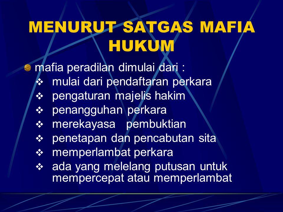 MENURUT SATGAS MAFIA HUKUM